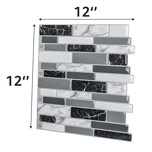 Art3d Peel and Stick Wall Tile for Kitchen Backsplash, 12