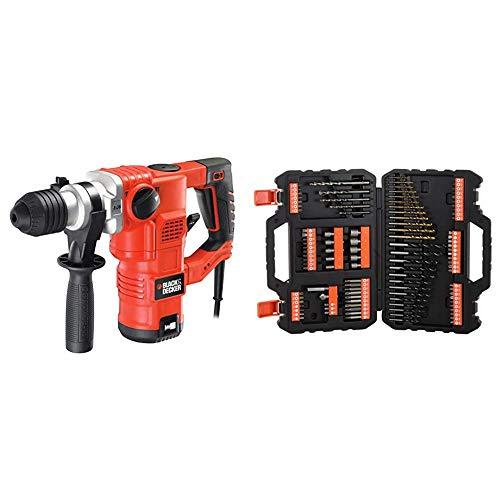 BLACK+DECKER KD1250K-QS Martello Tassellatore e Scalpellatore, 1250 W, 3.5 J + A7200-XJ Titanium Set per Forare ed Avvitare, 109 Pezzi