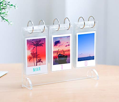 WINKINE Desktop Mini Photo Album Collection| Acrylic Tabletop Flip-Style Calendar-Style Photo Album| for Instax Mini 7s 8 8+ 9 25 26 50s 70 90 Film| Polaroid Instant Z2300 & Gift (52 Photos Display)