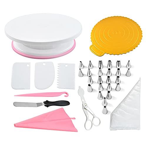 Kit de decoración de Tartas, 134 Piezas de Herramientas de decoración de Tartas, con Plato Giratorio para Tartas con Base Antideslizante, con Manga pastelera Reutilizable