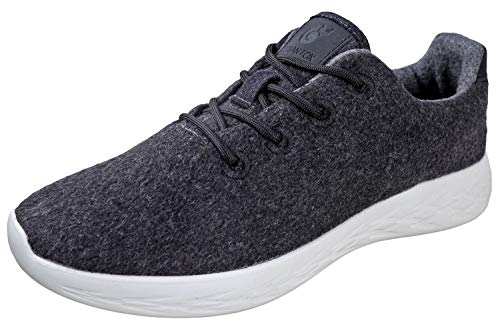 Urban Fox Parker Herren Woll-Sneaker   Wollschuhe   Laufschuhe   Wanderschuhe für Herren, Grau (Dunkles Charcoal), 46 EU