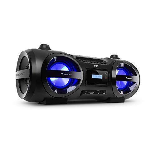 auna Soundblaster DAB Boombox Ghettoblaster, Bluetooth, Top-Loading CD-Player, SD/USB-Ports, MP3, DAB+ / UKW-Radio, Music2Light: LED-Disco-Effekt / 7 Farben/Farbwechsel-Modus, schwarz