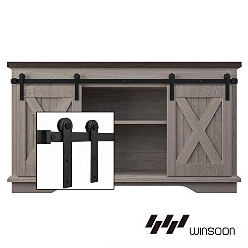WINSOON 6FT Super Mini Sliding Barn Door Cabinet Hardware Kit for Double Doors TV Stands Small Wardrobe Cabinets, I Shape Hanger (NO Cabinet)