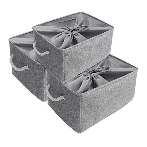Mangata Super Grande Set di Cesti di Stoccaggio in Tessuto 50 x 40 x 30 cm, 3 scatole di stoccaggio Pieghevoli per scaffali, Armadio, Guardaroba (Grigio, XXL)