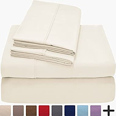 Bare Home Premium 1800 Ultra-Soft Microfiber Collection Sheet Set - Double Brushed - Hypoallergenic - Wrinkle Resistant - Deep Pocket (King, Light Ivory)