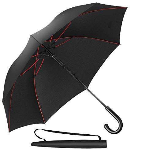 Newdora Stockschirm Regenschirm Windproof Manuelles Schließen Fiberglas Rippen Golf Umbrella Lightweight Extra Large 210T Wasserdichter Golfschirm Herren Damen mit rutschsicherem Griff (Schwarz)