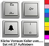 generisch Schalter Beschriftung Set Lichtschalter Glocke Heizung Schalter Aufkleber (125/2) (weiß Glanz)
