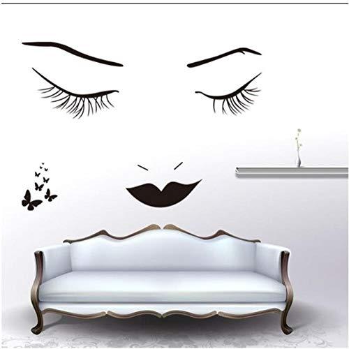 MINGKK - Adhesivo decorativo para pared, diseño de mujer con cara de mujer, pestañas negras, mariposas, dormitorios, decoración del hogar, pegatinas 3D