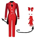 MIAOCOS Beelzebub Cosplay Helltaker Great Fly Costume Red Blazer Uniform Halloween Outfit with Gloves Tail