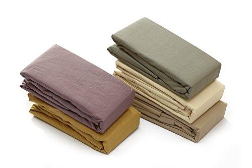 Towel Home - Lenzuola con angoli elasticizzati, non creano pallini, 100% cotone, 160x190/200+28cm beige