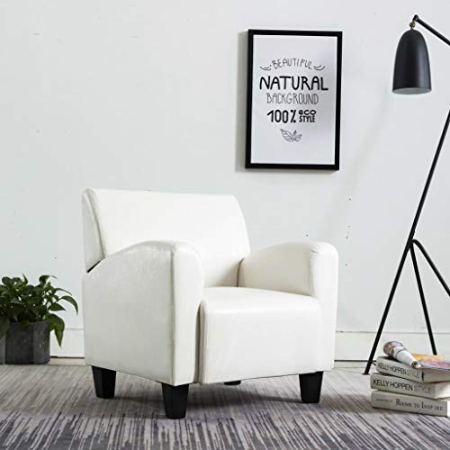 UnfadeMemory Sillón de Salón,Sofá Individual,Silla de Relax,Decoración de Hogar Habitación o Oficina,Estilo Atemporal,Diseño Clásico,Cuero Sintético,71x69x77cm (Blanco)