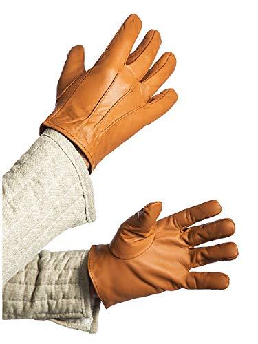 Andracor Robuste Handschuhe aus echtem Leder für Verschiedene LARP-Charaktere - individuell einsetzbar für Mittelalter, Fantasy, Cosplay & Freizeit - Farbe: Hellbraun - Größe: L