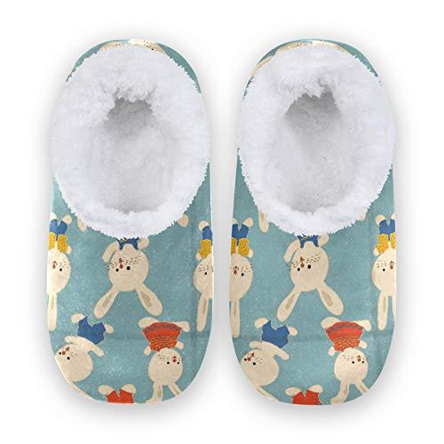 Rxyy - Pantuflas con dibujo de conejo, para mujeres, hombres, unisex, invierno, cálidas, para casa, pantuflas con calcetines, para el hogar, el dormitorio, color Multicolor, talla 38/39 EU