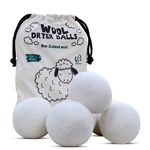 Ongebleekte professionele kwaliteit wolwasdroger Balls-XL grootte-Pack van 6 -Herbruikbare natuurlijke stof verzachter - vilt wol wasballen - bespaart droogtijd en verminderen rimpel, wasverzachter