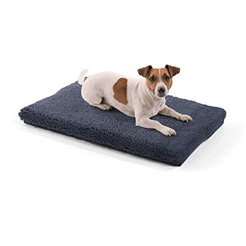 brunolie Luna kleine Hundedecke, orthopädisch, atmungsaktiv und waschbar, Hundematte mit gelenkschonendem Memoryschaum in Dunkelgrau, Größe S (60 x 40 x 5 cm)