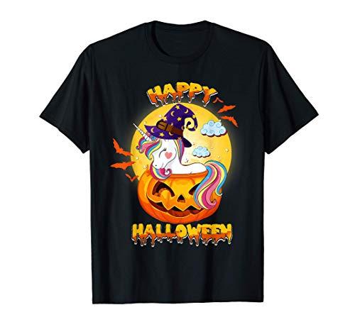Happy Halloween Calabaza Bruja Unicornio Disfraz Niñas Niños Camiseta