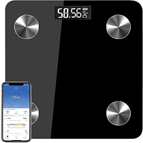 Escala de Grasa Corporal, Bluetooth Balanza de Grasa Corporal Digital Bluetooth 4.0 Inalámbrica Inteligente,Aplicaciones de IOS y Android