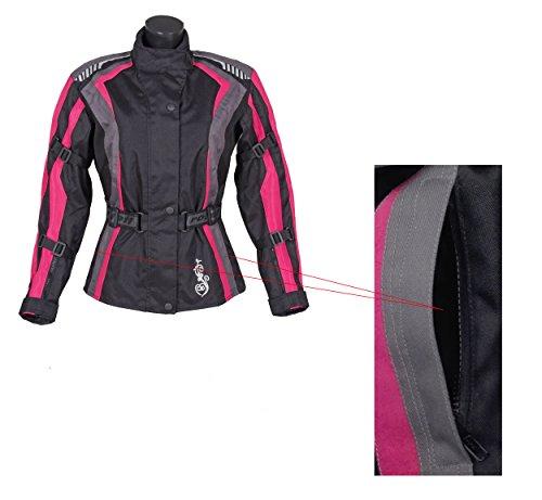 Roleff Racewear Damen Textil Motorradjacke mit Protektoren, Gute Belüftung, Taillierter Schnitt, Schwarz, Pink , Größe XXL - 8