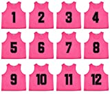 Oso Athletics Sets of 12 (1-12, 13-24, 25-36) Premium Mesh Numbered Jersey (Pink (#1-12), Large)