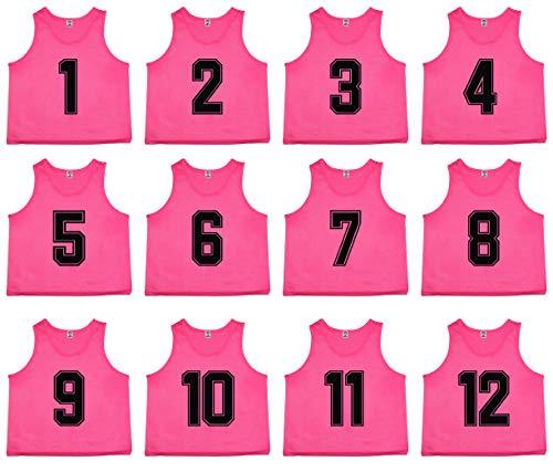 Oso Leichtathletik 12Premium Mesh-Set nummeriert Scrimmage Westen Pinnies Team Praxis Trikots für Kinder, Jugend, und Erwachsene Sport Basketball, Fußball, Fußball, Volleyball, Lacrosse, rose