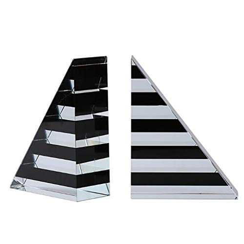 Book Ends Crystal Triangle Bookends Stripes Book Ends Supports for Shelves Heavy Duty Books End Office Book Stopper Desktop Decoration Stopper Book ( Color : Black and white , Size : 4.7*1.9*6.1in )