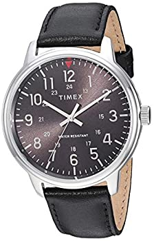 Timex Men s TW2R85500 Classic 43mm Black/Silver-Tone Leather Strap Watch