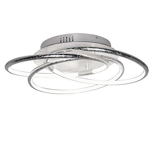 Plafoniera LED plafoniera design ad anello ALU Plafoniera moderna da soggiorno, ottica foglia argento, 1x LED 30W 2100Lm bianco caldo, PxH 50x14 cm
