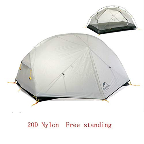 Mdsfe Naturehike 3 Season   Mongar   Camping Tent 20D Nylon Fabic Double Layer Waterproof Tent for 2 Persons NH17T007-M-20D Gray,A10