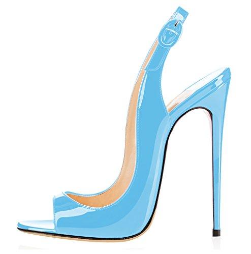 elashe Damen Knöchelriemchen Lackleder Pumps | Peep Toe Stiletto 12CM Sandalen | Slingback Hochzeit Schuhe Himmelblau EU40