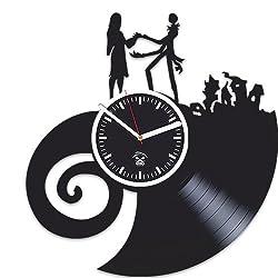 Kovides Nightmare Before Christmas, Vinyl Wall Clock, Best Gift for Kids, Vinyl Record Clock, Silent, Wall Sticker, Wall Clock Modern, Jack Song, Oogie's Revenge, Handmade Clock