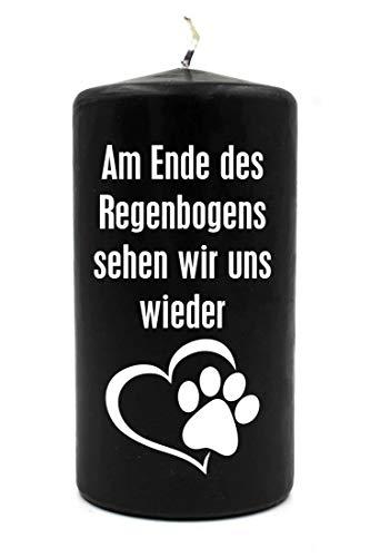 WB wohn trends Trauer-Kerze, Am Ende des Regenbogens. Hund Katze Tier-Pfote, schwarz weiß, 15cm d=8cm, Spruch-Kerze Gedenk-Kerze