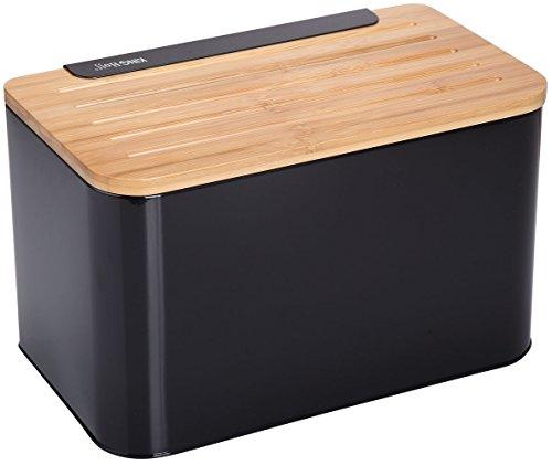 Brotkiste mit Schneidebrett aus Bambus Schwarz Brotbox 35x20x21cm