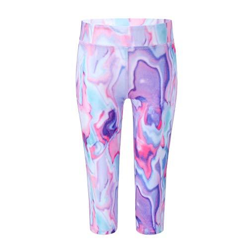 dPois Mallas Leggings Deportivos para Niñas Yoga Fitness Gym Capri Shorts Pantalones Cortos Elásticos Deporte Jogging Correr para Chica Morado 3-4 años