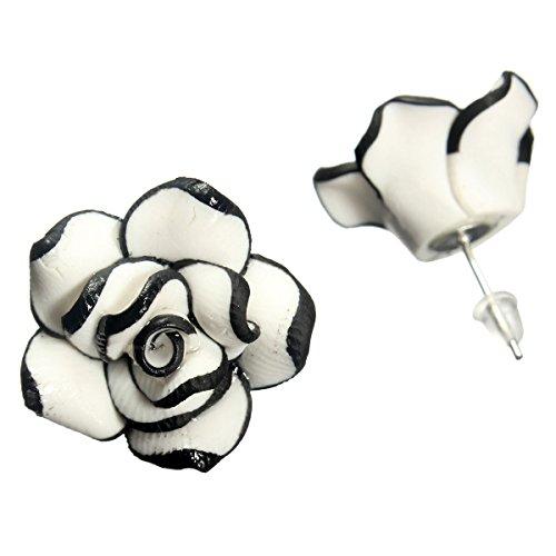 Boucles D' oreilles Rose Fleur Noir Blanc Clou Bijoux Elégant Stud Earrings Mode