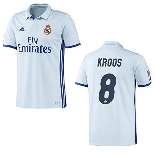 adidas Real Madrid Heimtrikot 2016-2017 Ronaldo Bale Kroos James, Größe:152, Nummer - Spielername:8 - KROOS