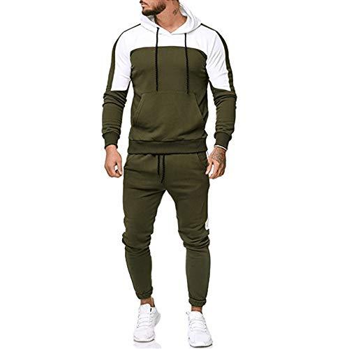 ❁Tefamore Automne Patchwork Sweatshirt Hauts Pantalons Ensembles Sport Survêtement Costumes(Vert,Medium)