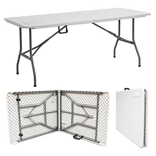 Denny International 1.8M 6ft Heavy Duty Folding Table for Catering Camping Table Trestle for BBQ Picnic Party