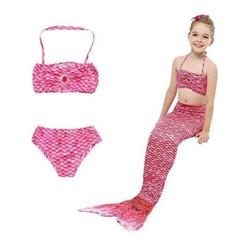 HHD® 3 Pezzi Costumi da Bagno Ragazza della Coda della Sirena Mermaid Sirena Costume da Bagno Bikini