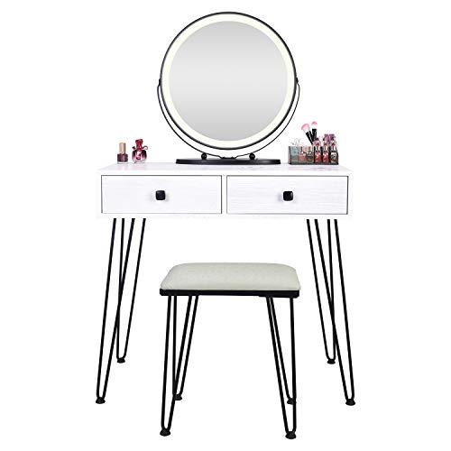 FREDEES Schminktische mit Runder Spiegel Vanity Table mit 3-farbigem Touchscreen-Dimmer mit gepolsterter Hocker und 2 großen Schubladen Weiß