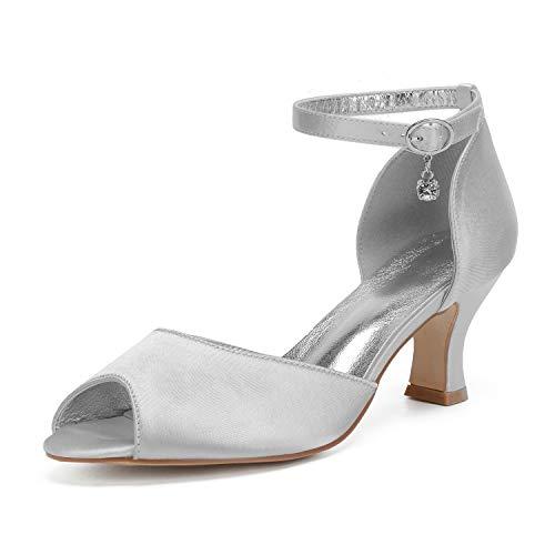 MarHermoso zapatos de novia con correa al tobillo y tacón de gatito para mujer, color Plateado, talla 42 2/3 EU