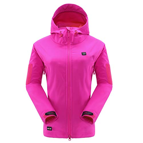 DEWBU Heated Jacket with 7.4V Battery Pack Winter Outdoor Soft Shell Electric Heating Coat for Women,Rose Red,S