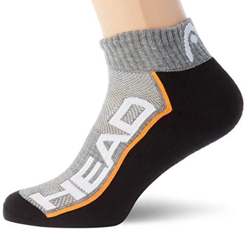 HEAD unisex-adult Performance Quarter (2 pack) Tennis Socks, grey/black, 35/38 (2er Pack)