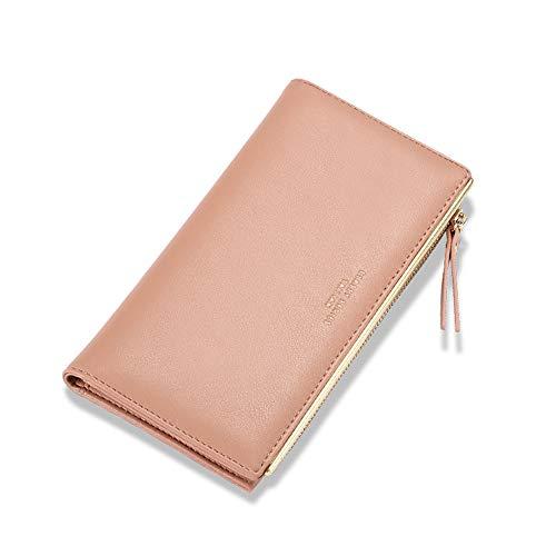 Cartera de piel con bloqueo RFID, cartera de mano, con cierre de cremallera, para teléfono móvil, bolsillo para tarjetas, funda de viaje para mujer