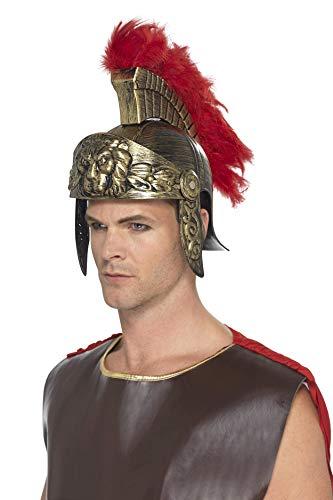 Smiffys Casco de espartano romano,Dorado y rojo,de plástico, con penacho de plumas desmo