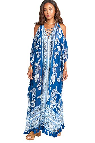 Vestido Largo Verano Mujer Bohemio Camisolas Talla Grande Pareos Gasa Estampado Africano Indio Kaftan Maxi Dress Ropa Piscina Playa Traje de Baño Bikini Cover Up Beachwear Beachdress