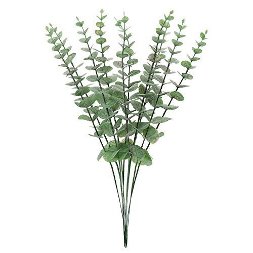 ANSUG 10 Uds 15 '' Hojas de eucalipto Artificiales, Follaje Falso de dólar de Plata seco Plantas Verdes de imitación para Ramo de Flores de Bricolaje, hogar, Oficina, decoración de arreglos de Boda