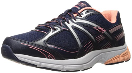 Avia Women's avi Rise Running Shoe, Grotto Navy/Soft Coral/Chrome Silver/White, 7 M US