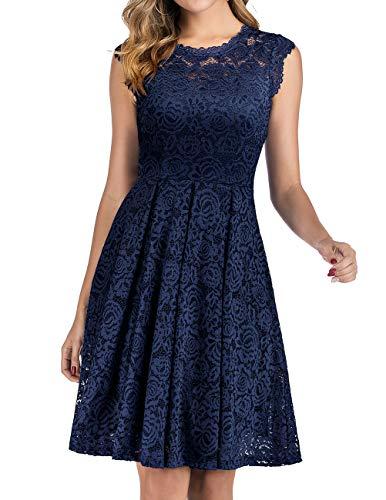 Meetjen Damen Festliche Cocktailkleid Elegante Abendkleid Hochzeitskleid Knielang Brautjungfern Midi Spitzenkleider Navy XL
