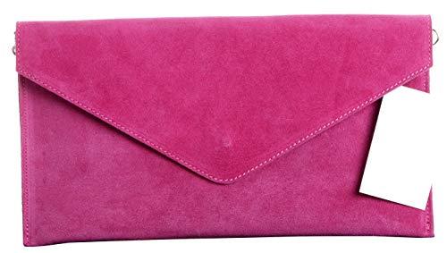 Primo Sacchi Italiano in pelle scamosciata pelle fucsia rosa busta Design frizione, polso, spalla o borsa a tracolla.Include una custodia protettiva marca