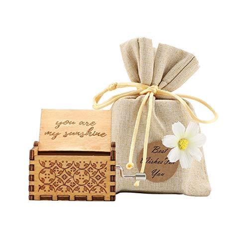 COAWG Hölzerne Spieluhr, Geschnitzte hölzerne Klassische Handkurbel-Spieluhr für Heimdekoration, Basteln, Geburtstagsgeschenk (You Are My Sunshine)